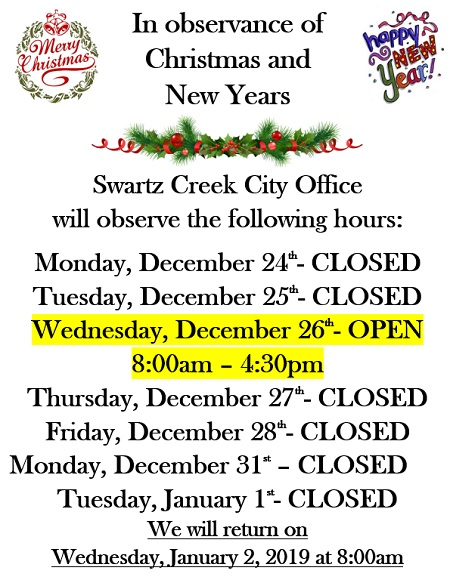 COSC Holiday Hours