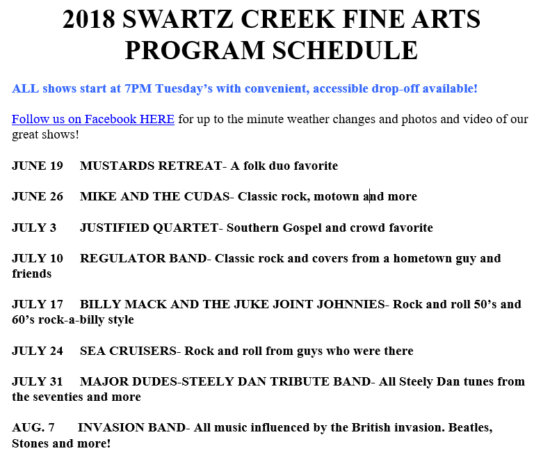 2018 Fine Arts Program Schedule