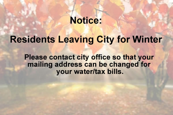 Attn: Residents Leaving City for Winter